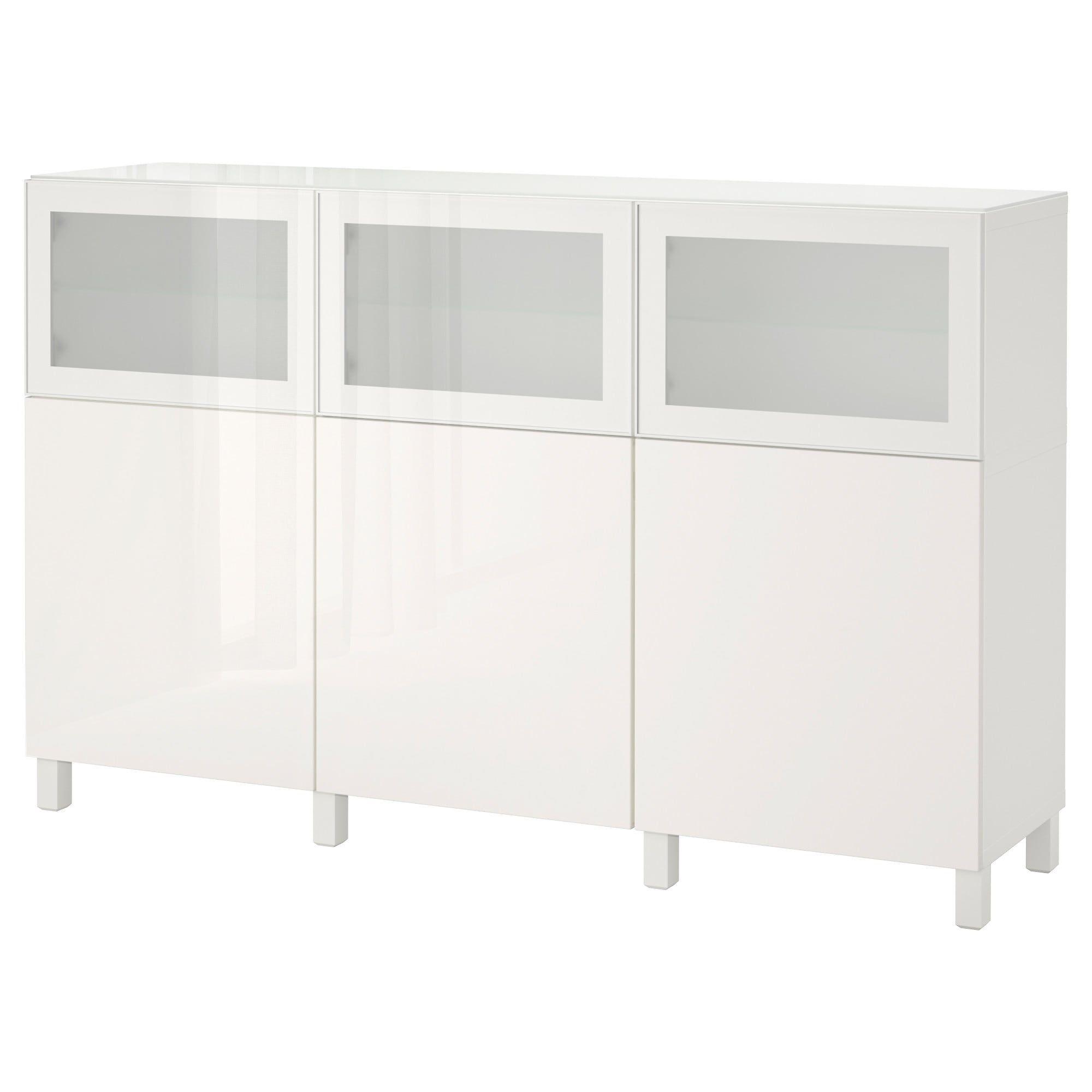 Vetrine Ikea Mobili Soggiorno Componibili.Besta Mobile Con Ante Bianco Selsviken Glassvik Lucido Vetro