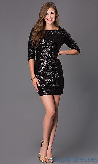 Black Sequin Cocktail Dress