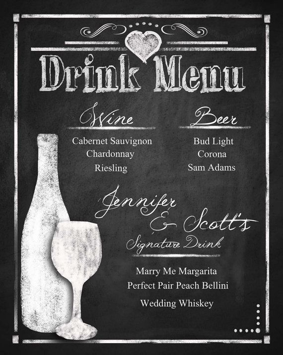 Custom Chalkboard Wedding Drink Menu Choose Your Size Rustic Collection