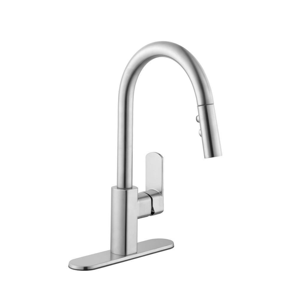 Schon 7500 series single handle pull down sprayer kitchen faucet in stainless steel · kitchen faucetshome depotkitchen