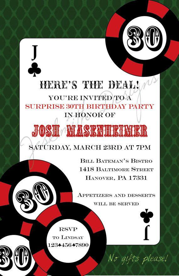 Poker Themed Adult Birthday Invitations Birthday Invites