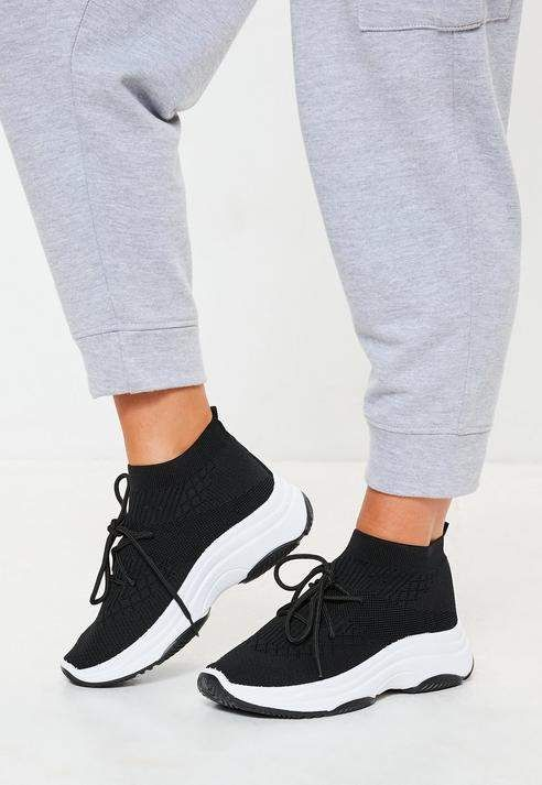 9c5f7dda6 Missguided Black Knit Lace Up Sock Sneakers