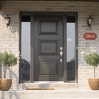 exterior door with 2 glassed sidelights