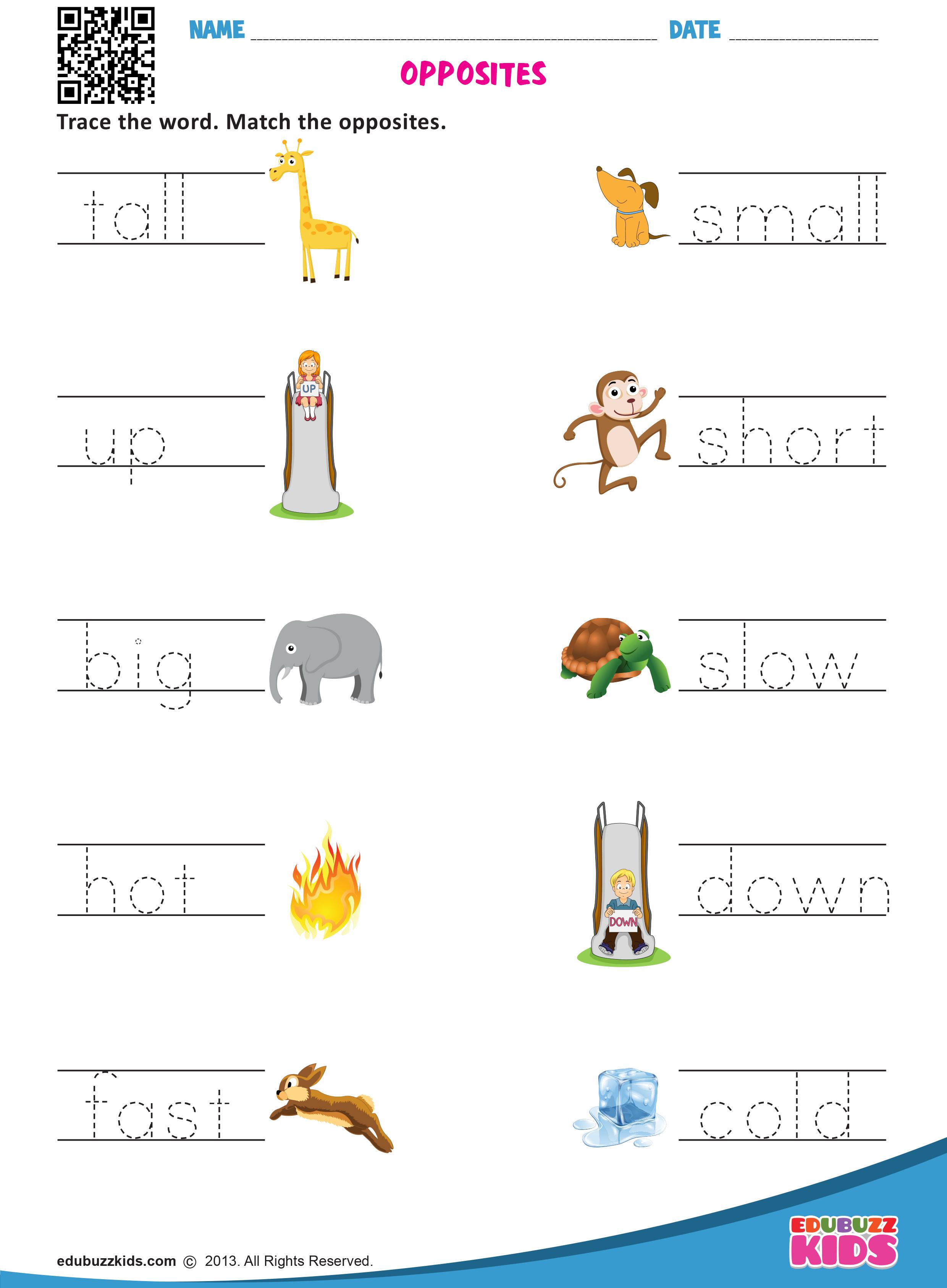 25++ Kindergarten worksheets on opposite words Top