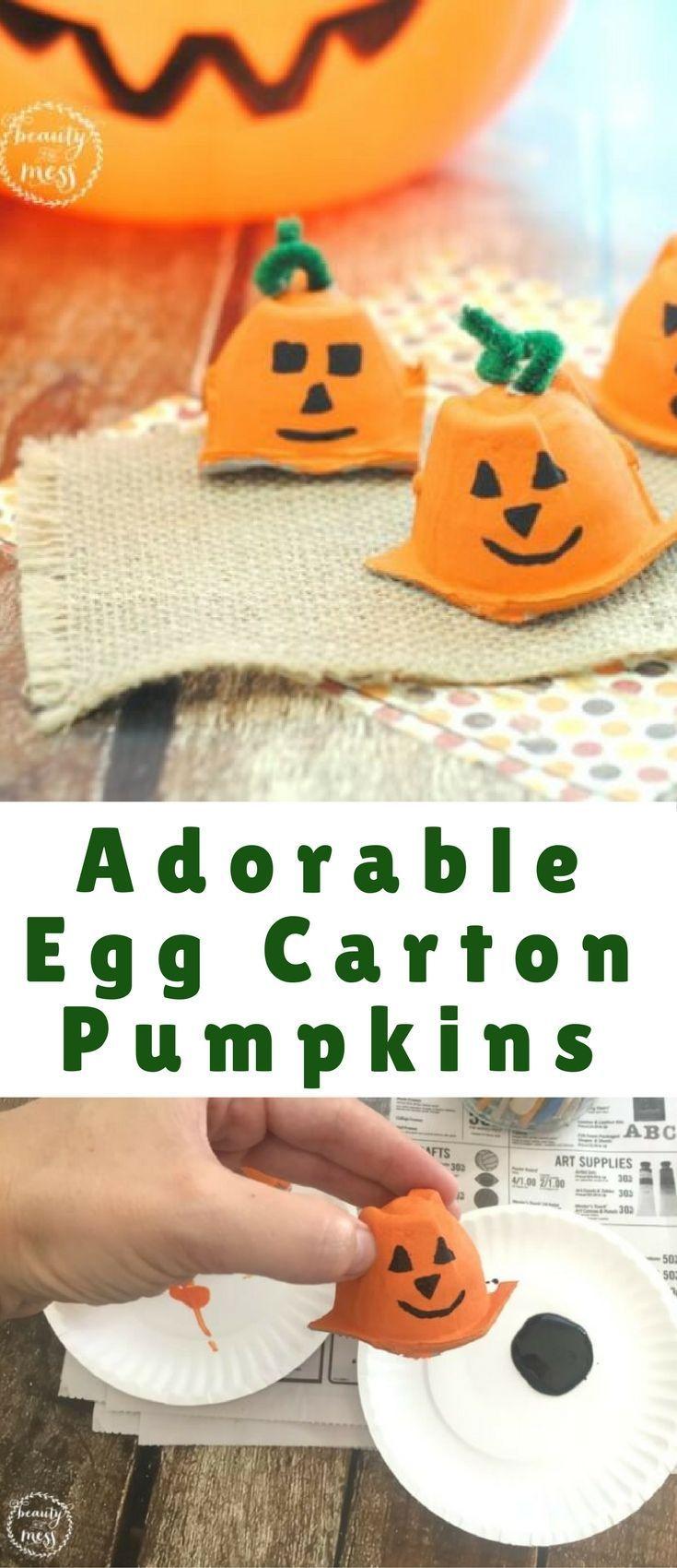 Check out these adorable egg carton pumpkins for F...