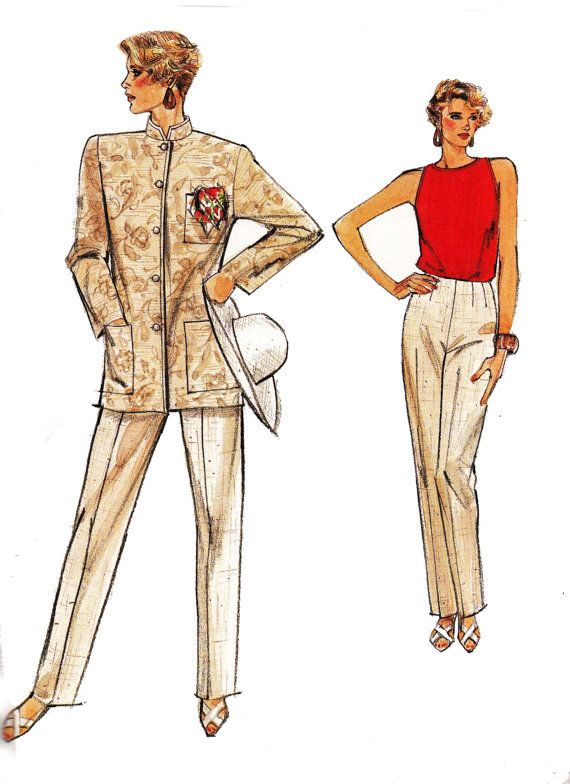80s Nehru Jacket Blouse & Pants Pattern Vogue 9531 Vintage Sewing ...
