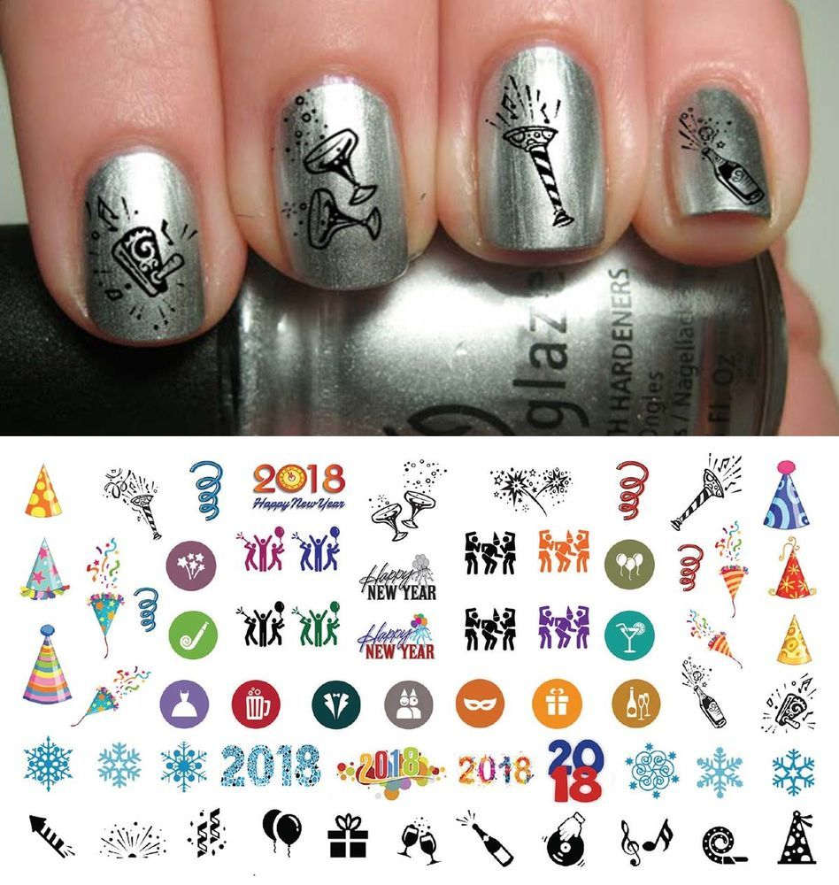 2020 Happy New Years Holiday Nail Art Waterslide Decals