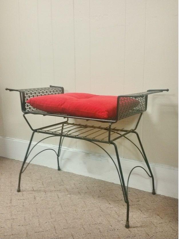 Vintage Wire Mesh Wrought Iron Black Vanity Stool Bench