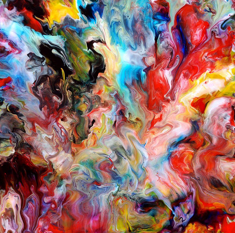 Fluid painting 62 acrylic on canvas 35 5 x 14x14 for Acrylic art images