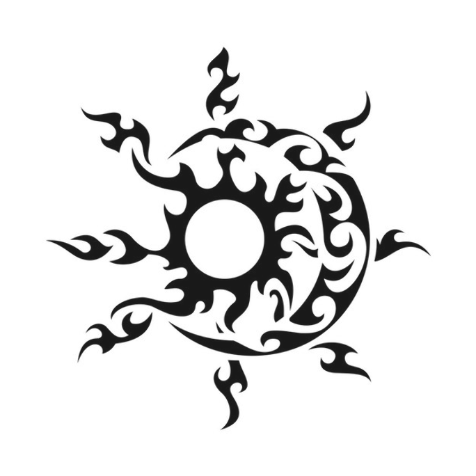Tribal Star Sun Moon Graphics Design Svg Dxf Eps Png Cdr Ai Pdf Vector Art Clipart Instant Download In 2020 Tribal Drawings Hawaiian Tattoo Moon Tattoo