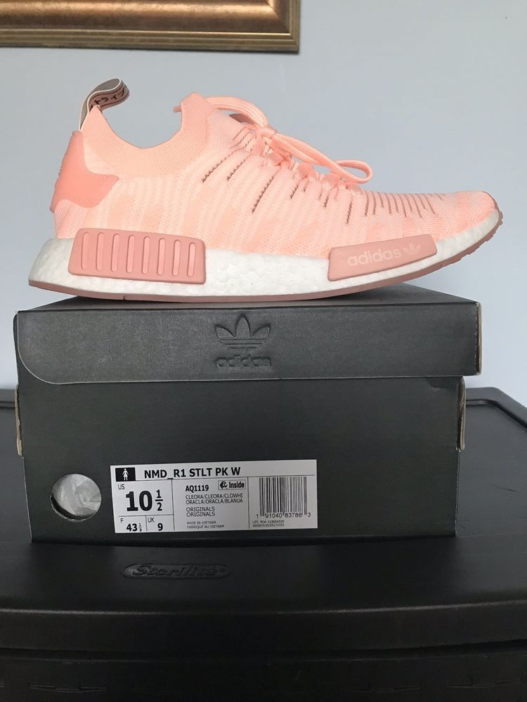 44468e71eeaa5 Adidas NMD R1 STLT PK W Women Primeknit Clear Orange Running White AQ1119
