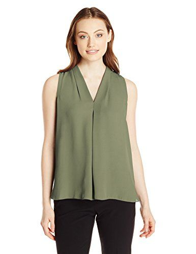 d1b79d71e8a9 Vince Camuto Women's S/L V Blouse with Inverted Front Pleat, Sage, X-