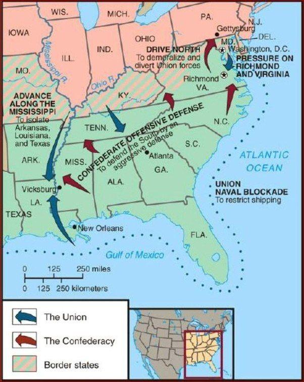 Civil War Border States Map on