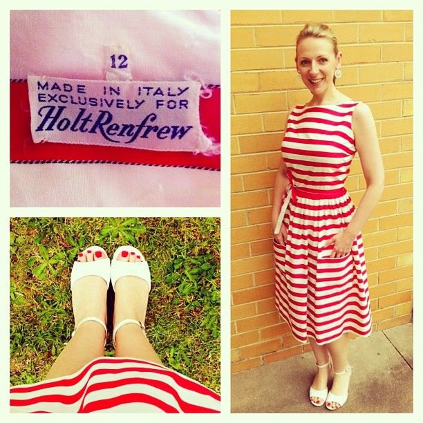 """101 Likes, 4 Comments - Julie Poulter (@forbidden_charm) on Instagram: """"Today's outfit: red striped polished cotton dress with strangely low pockets."""""""