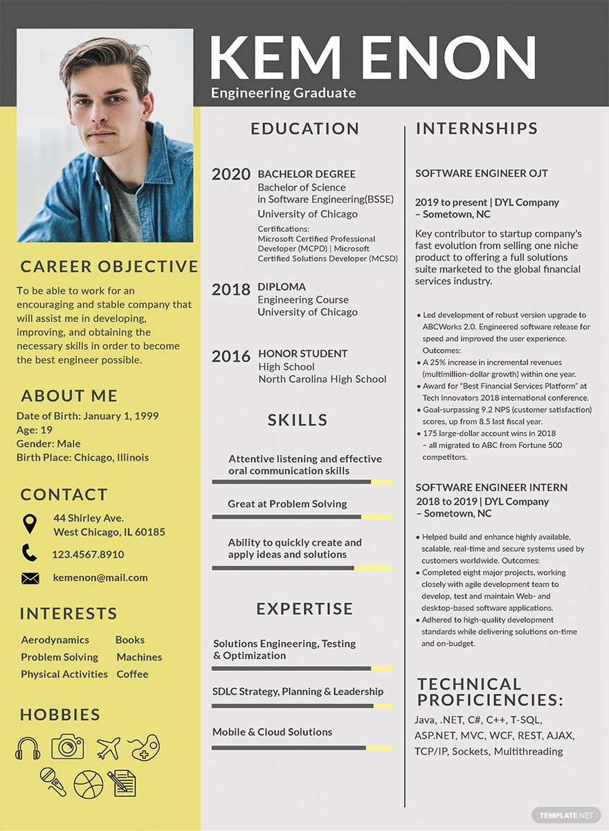 FREE Resume/CV Format for Engineering Freshers Template