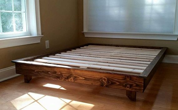 Platform Bed Low Profile Ava Solid Wood Frame Custom Guest Free Shipping
