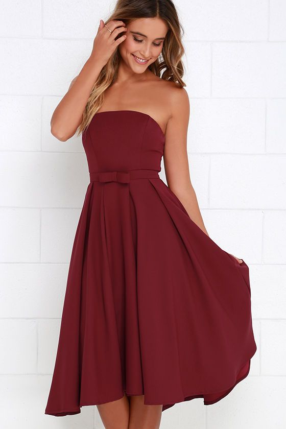 49d0c997796a Time is Right Wine Red Strapless Midi Dress at Lulus.com!