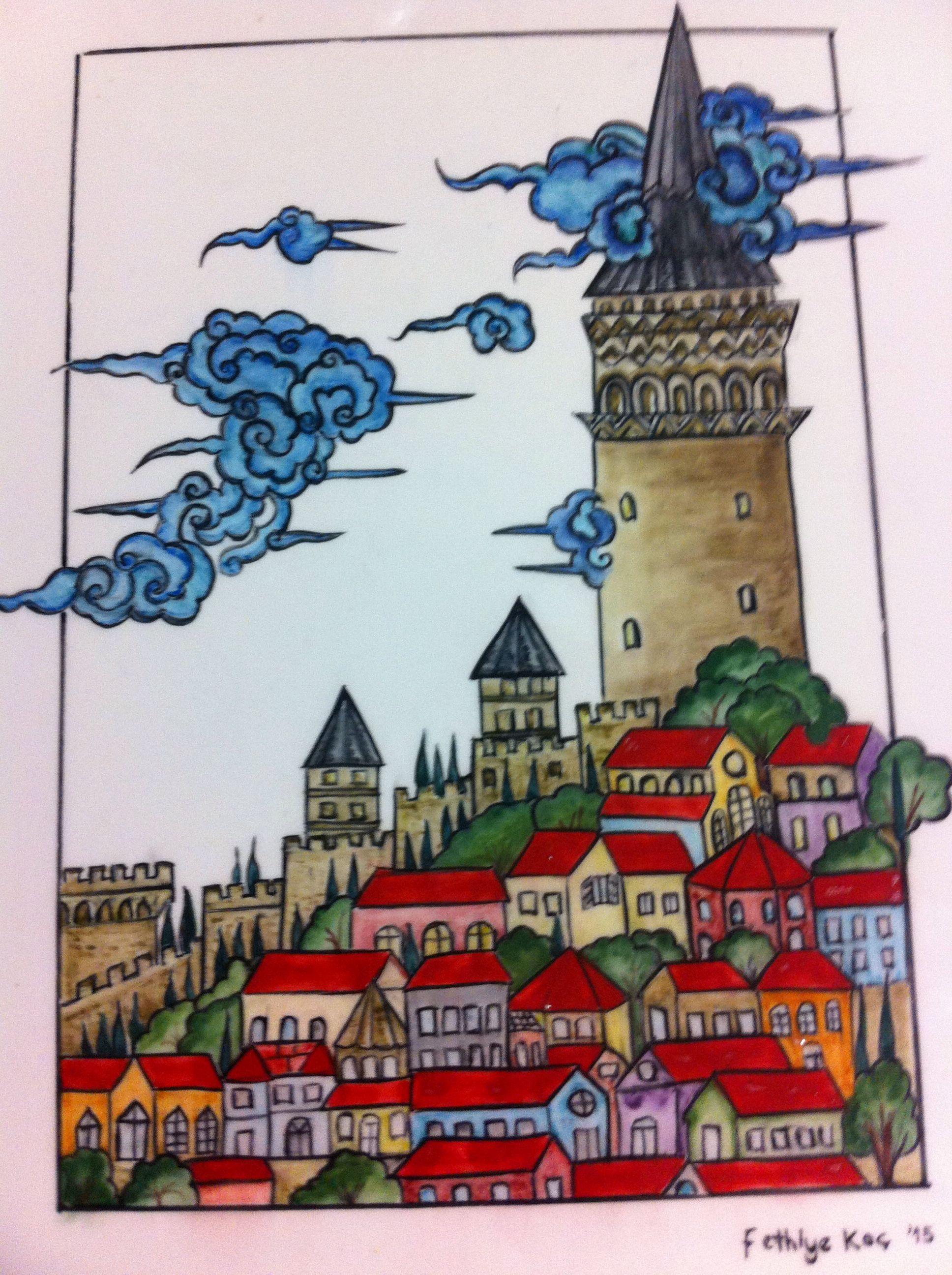 Galata Kulesi Sanat Desen Illustrasyonlar Hayvan Boyama Sayfalari