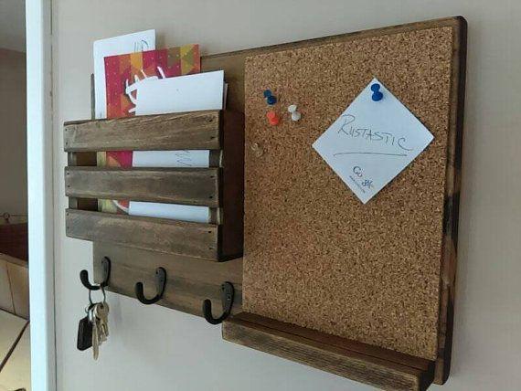 Corkboard Mail Organizer Mail Holder Mail Rustic Organizer Key Holder Mail Organizer Personalized Option