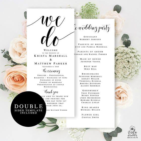 Printable Wedding Program Template Download Editable Wedding - Editable wedding program templates