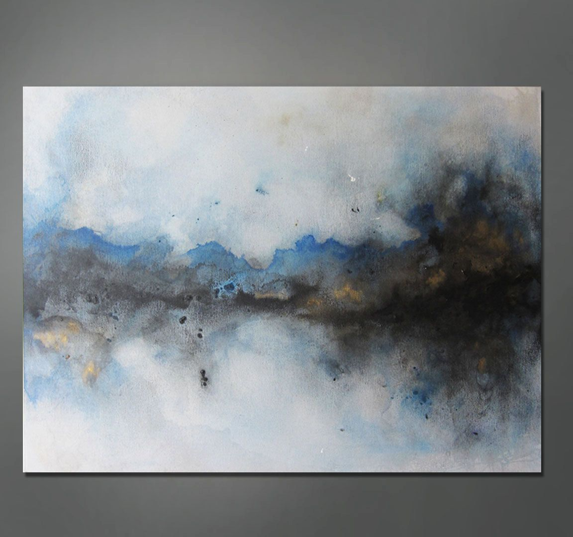 Abstract Painting Blue Black Gold Abstract Painting Abstract Art Painting Abstract