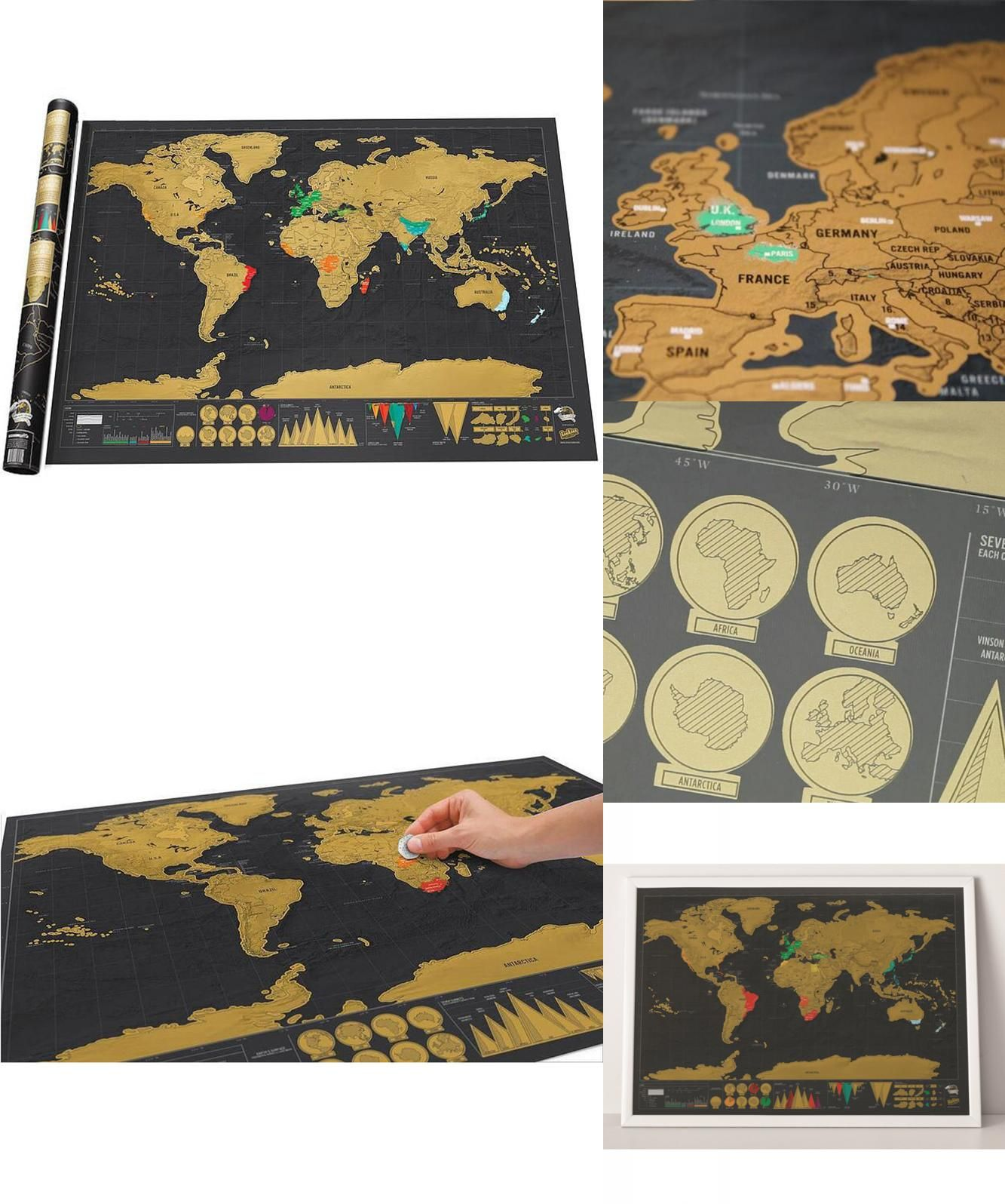 Visit to buy luxury edition black world map new design black deluxe visit to buy luxury edition black world map new design black deluxe scratch map gumiabroncs