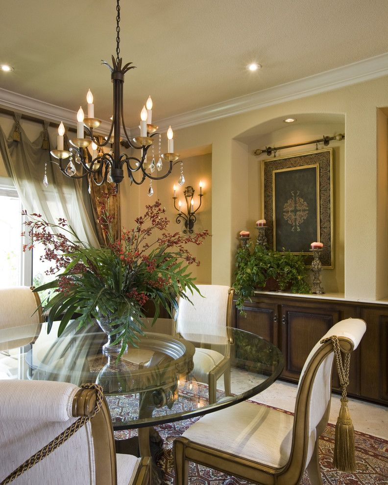 Cool wall candle sconces in Dining Room Mediterranean with Art Niche