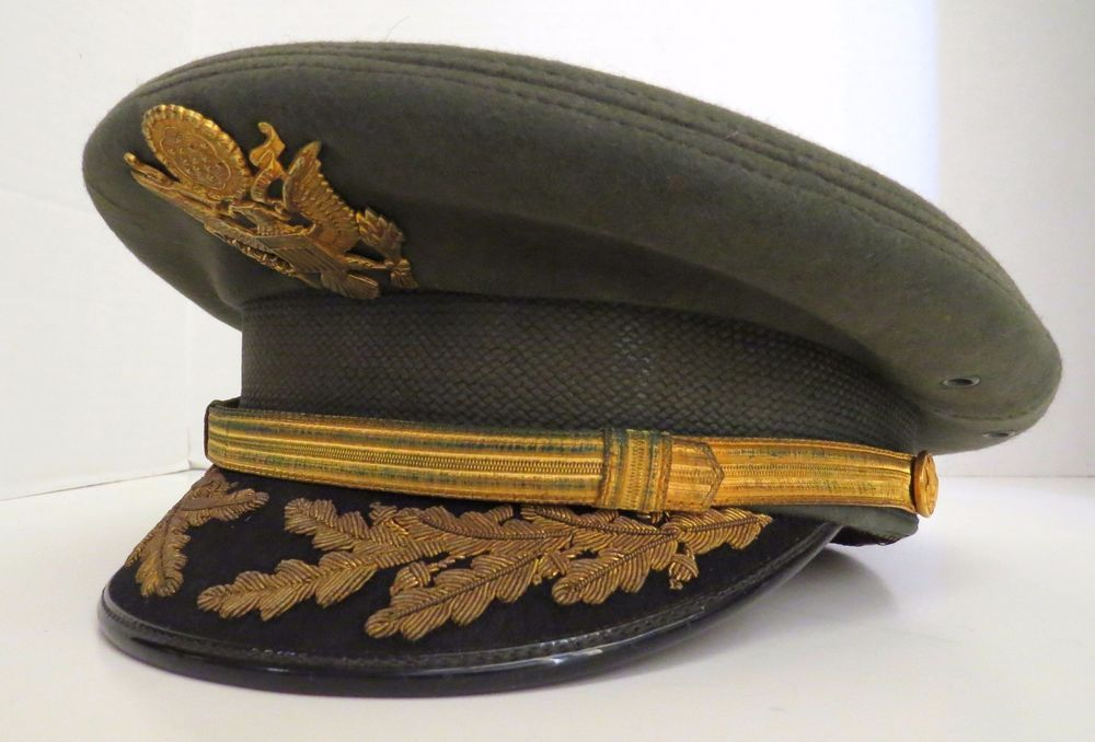 WWII U.S. ARMY VISOR CAP FIELD OFFICER HAT W  BULLION BANCROFT FELT CRUSHER 5947a52de37