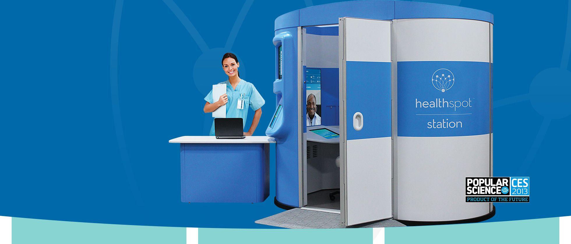 HealthSpot telemedicine medical kiosk for remote primary