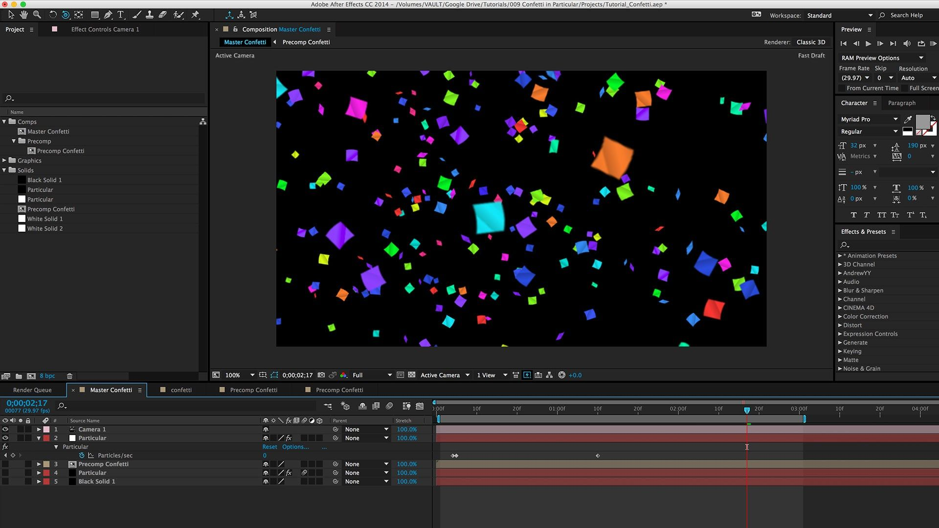 After effects tutorial animating confetti with trapcode animating custom particles free after effects video tutorials beginner advance baditri Image collections