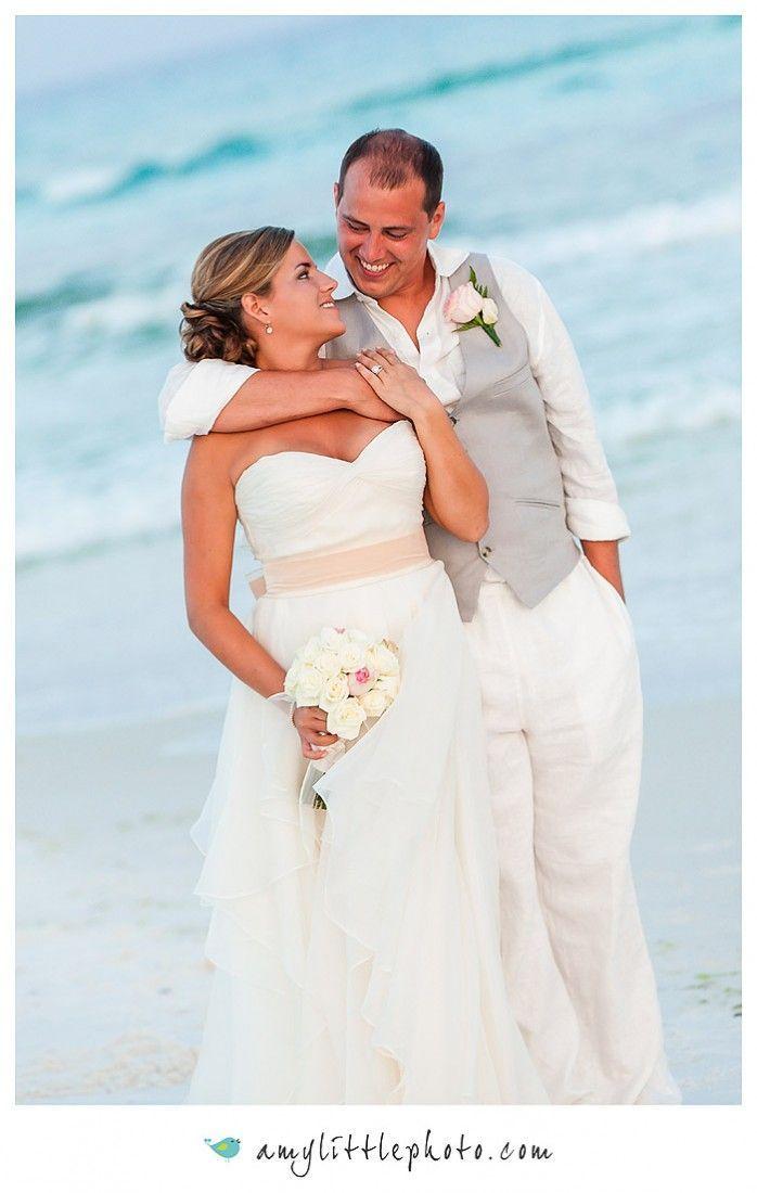 Beach wedding, Flowing Ivory chiffon dress, beach groom\'s attire ...