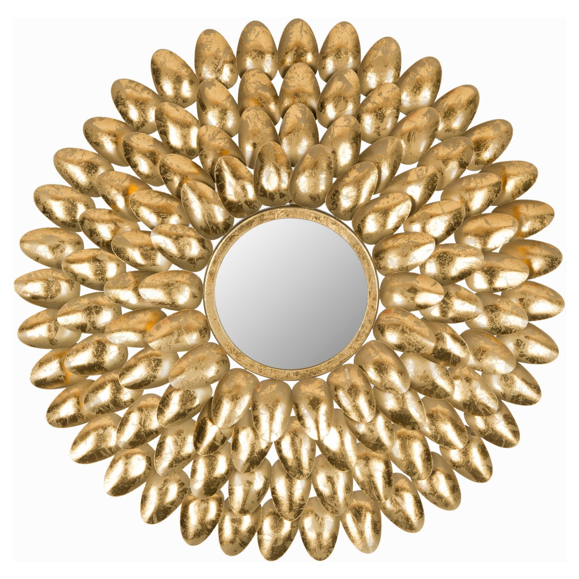 Sunburst Royal Leaf Decorative Wall Mirror - Safavieh, Gold ...