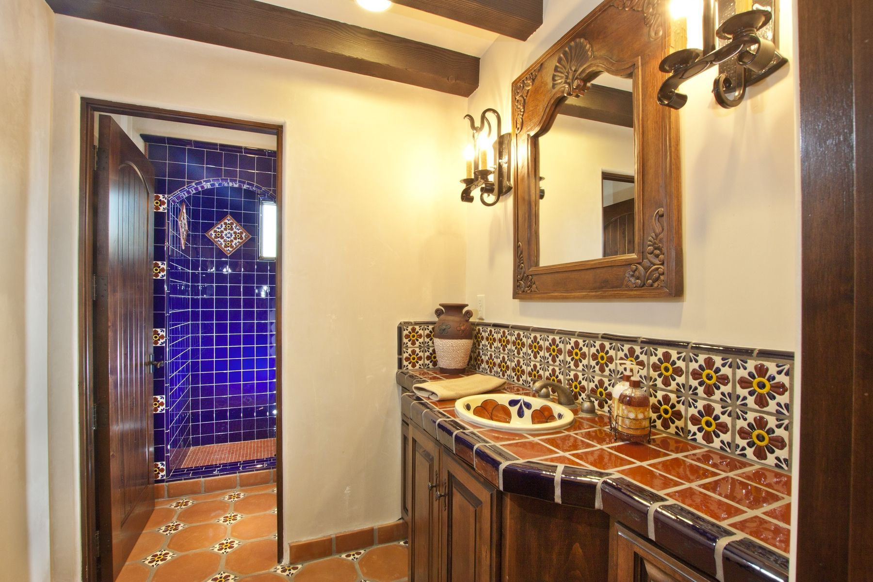 Talavera Tile For Mexican Bathroom Design Within Designs