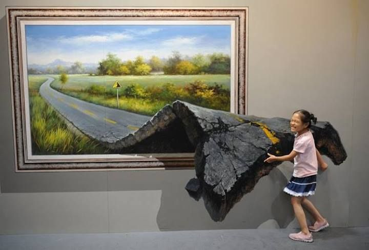 Beautiful 3D Painting at the Magic Art Special exhibition in the Hangzhou, China.