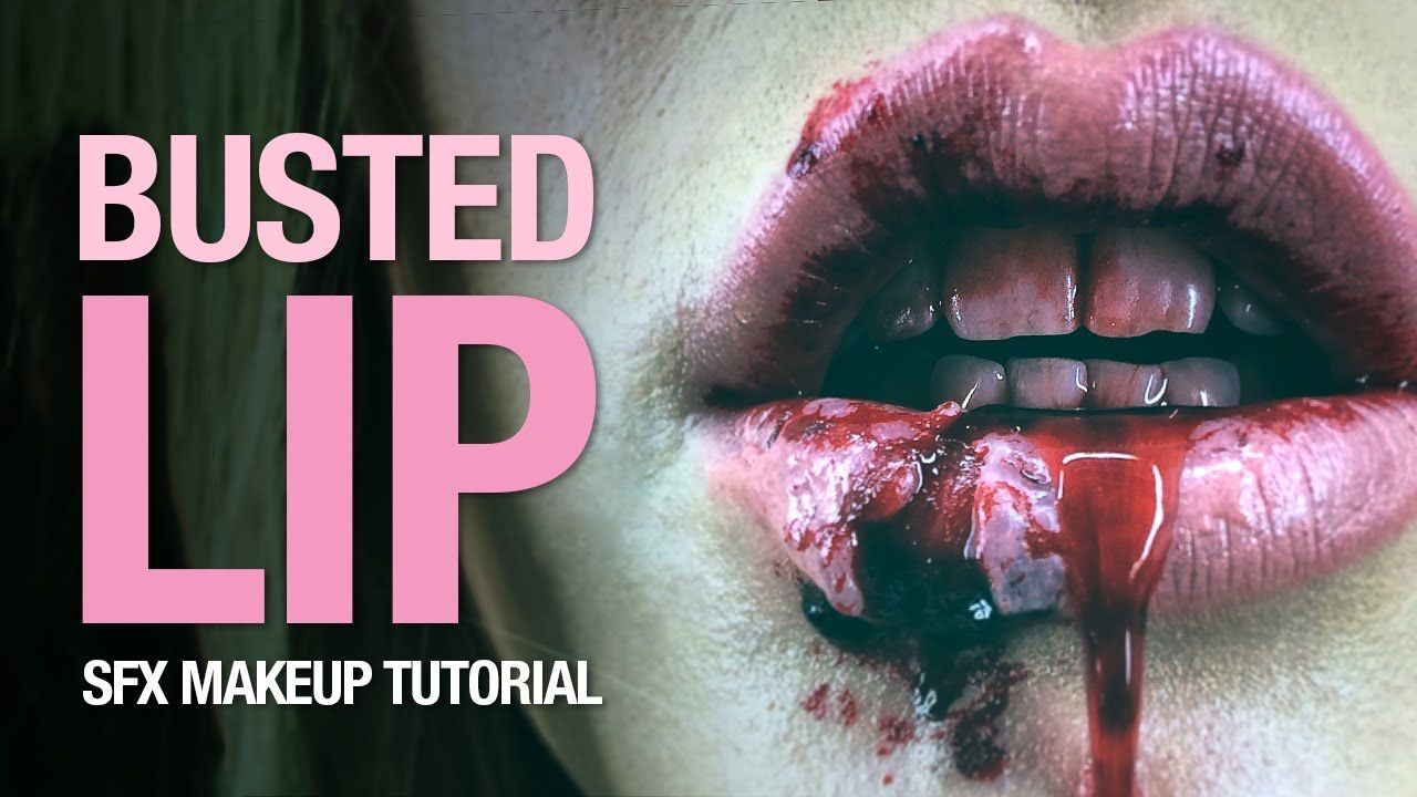 Busted lip special fx makeup tutorial   Halloween Costume ...