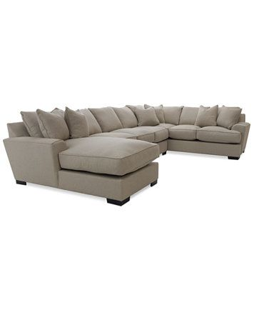 Ainsley 3 Piece Sectional With Chaise Apartment Sofa 6 Toss Pillows Macys
