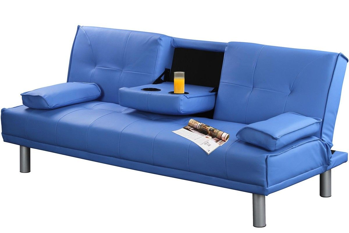 blue manhattan modern faux leather sofa bed