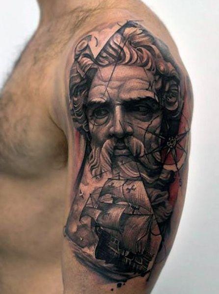 30 Poseidon Tattoo Designs For Men Greek God Of The Sea