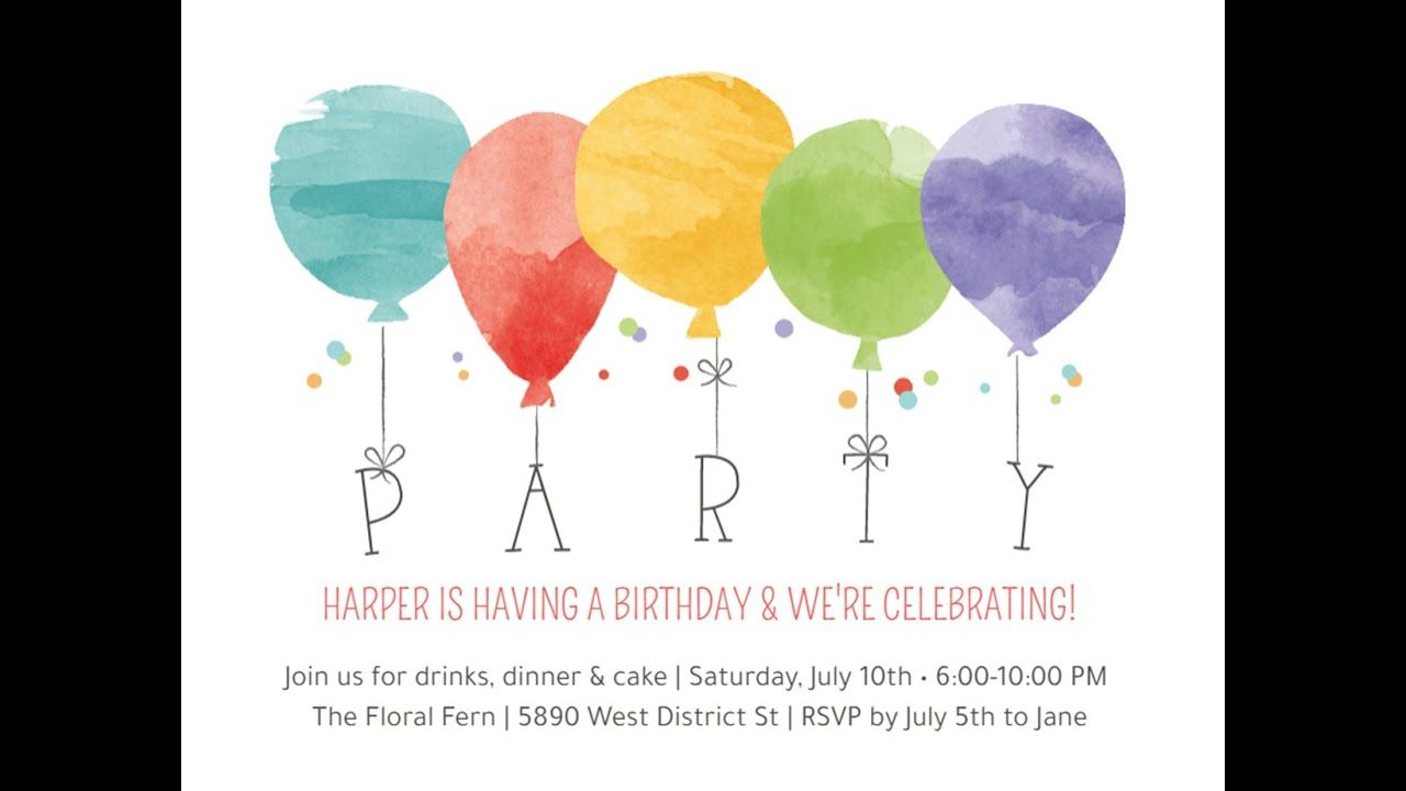 Watercolor Balloons Invitation Balloon Invitation Free