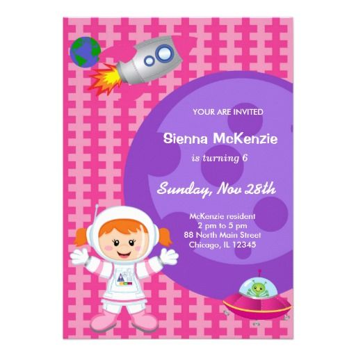 Astronaut girl Birthday theme Card Girl birthday themes Girl