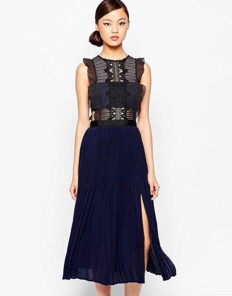 Self Portrait Sleeveless Pleated Lace Midi Dress Navy UK 8