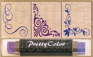 Carimbo de Madeira Cantoneira 3 Carimbos e 1 almofada Bicolor 5490 CM006 - Toke e crie - 018835