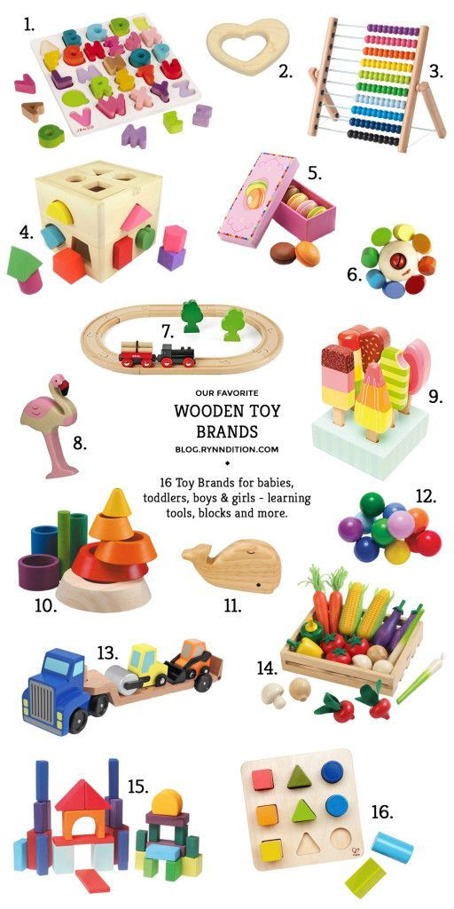 16 of our favorite wooden toy brands. For babies, toddlers, boys & girls… #toysforbabies