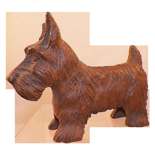 Vintage Miniature Carved Wooden Scottie Dog Signed Figurine