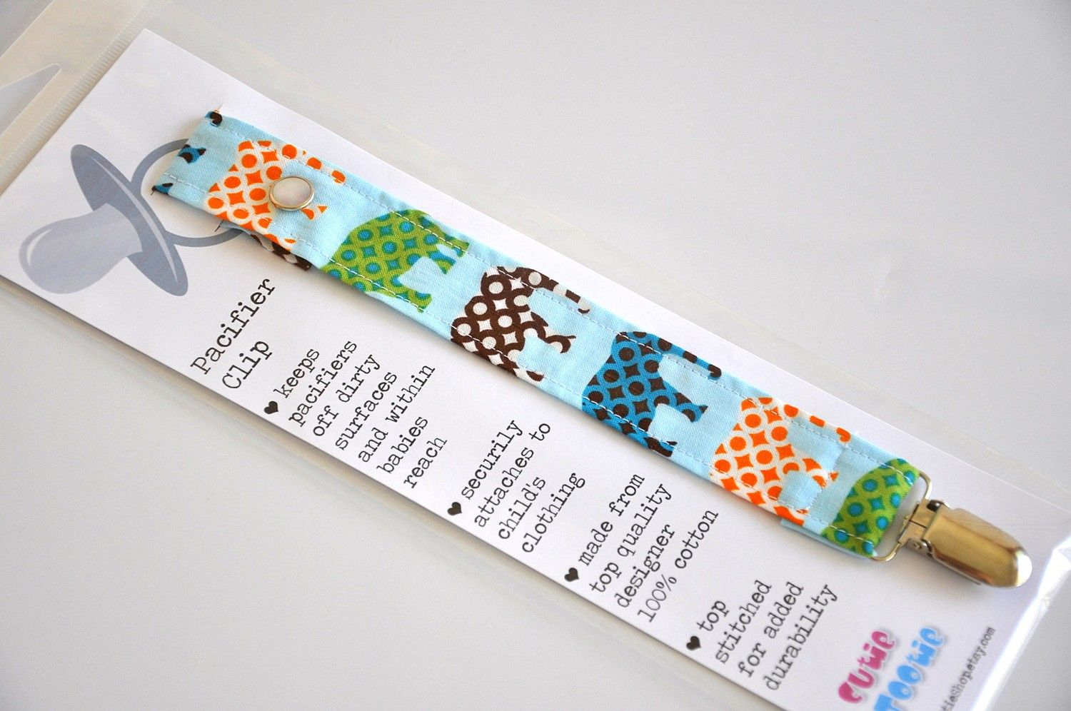 Baby Handmade dummy clips ~ Blue floral Print