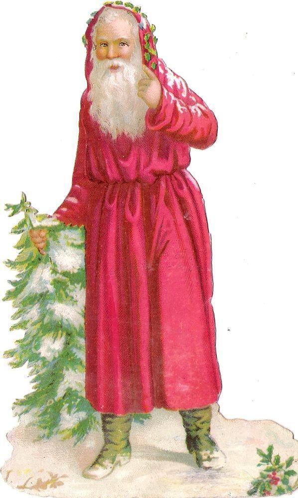 Oblaten Glanzbild scrap die cut chromo Nikolaus 14,5 santa father XMAS Baum tree