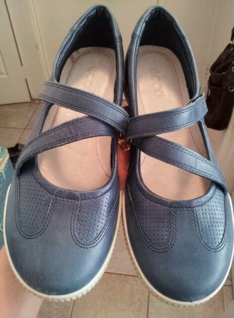ECCO genuine LEATHER soft blue leather ladies women comfort