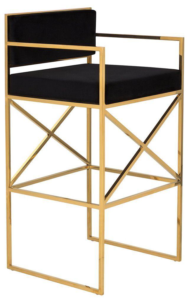 Walsh Barstool Black Gold Stool Furniture Bar Stools