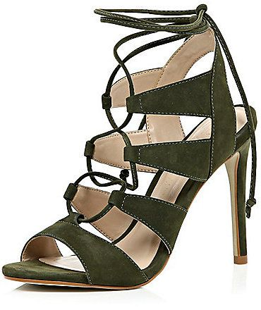 966ad1199bb4 River Island Womens Khaki green suede caged lace up heels - Click the link  for product details  )