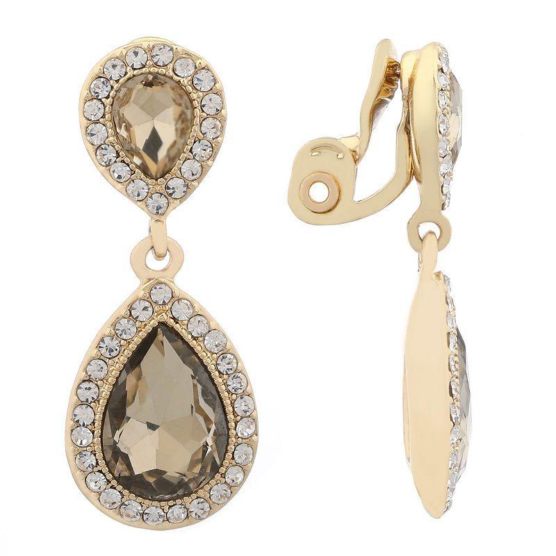 Lady Fashion Jewelry PEAR CUT Clear Topaz Gems White Gold GP Dangle Earrings